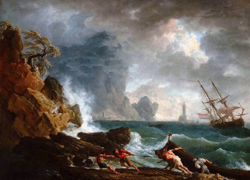 An Italian Harbour In Stormy Weather Painting Claude Vernet Canvas Art
