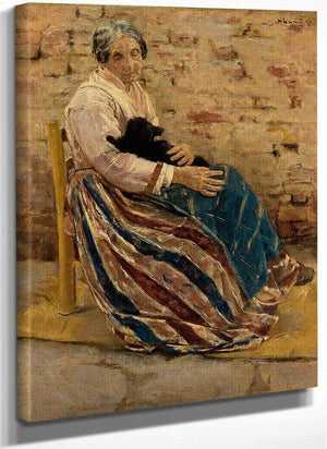 An Old Woman With Cat By Max