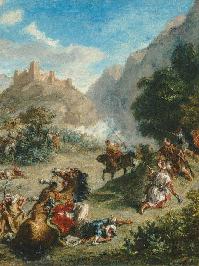 Arabs Skirmishing In The Mountains Eugene Delacroix