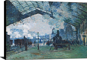 Arrival Of The Normandy Train Painting Claude Monet Canvas Art
