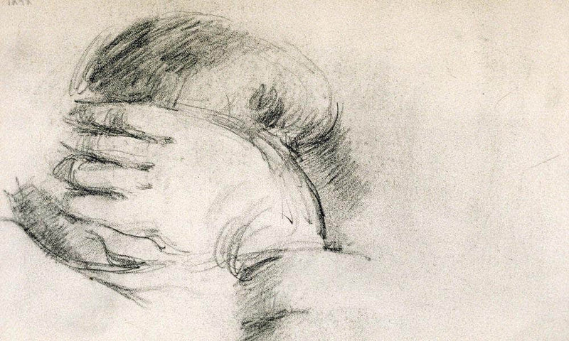 Artists Son Hand Behind Head By Cezanne Paul