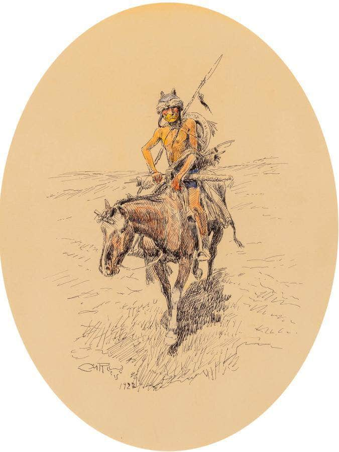 Assiniboine Warrior 1922 By Charles Marion Russell