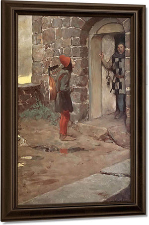 At The Gate Of Castle By Howard Pyle