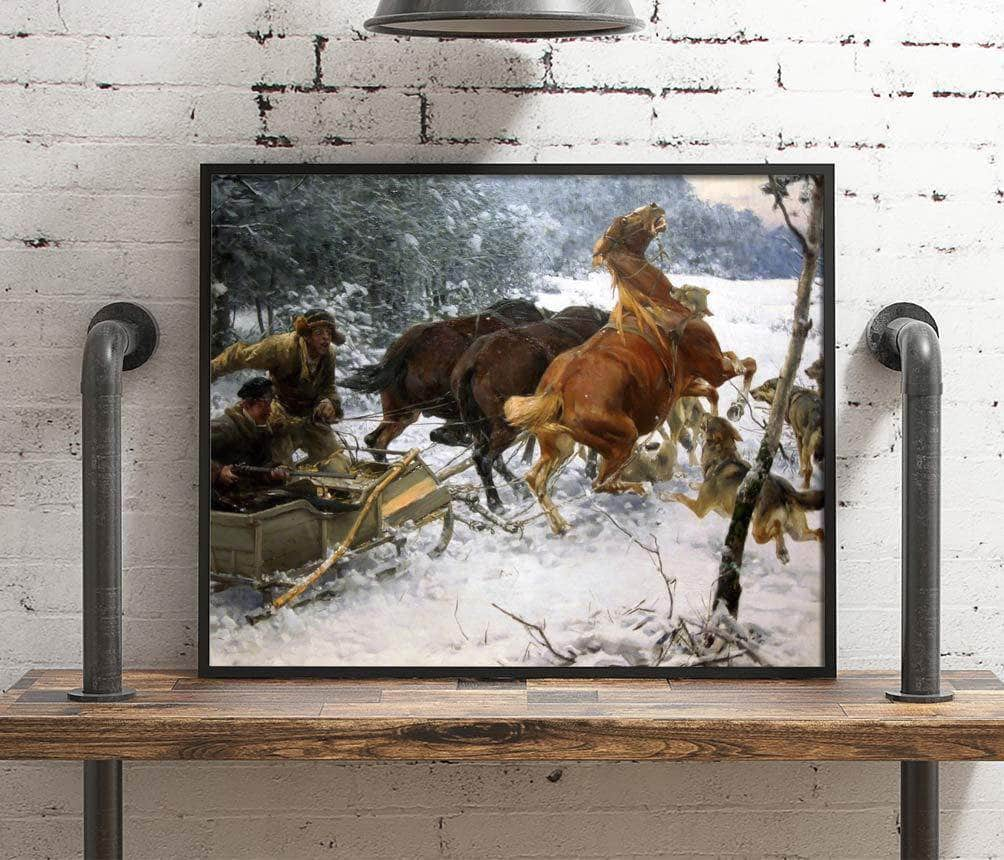 Attacking Wolfpack Painting Alfred Kowalski Canvas Art