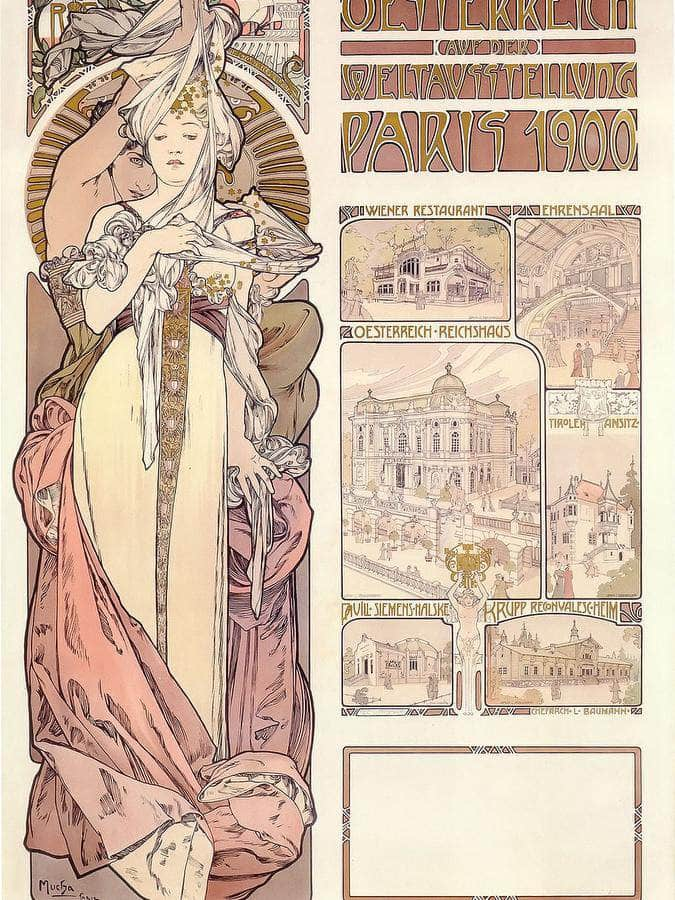 Austria At The World Exhibition By Alphonse Mucha