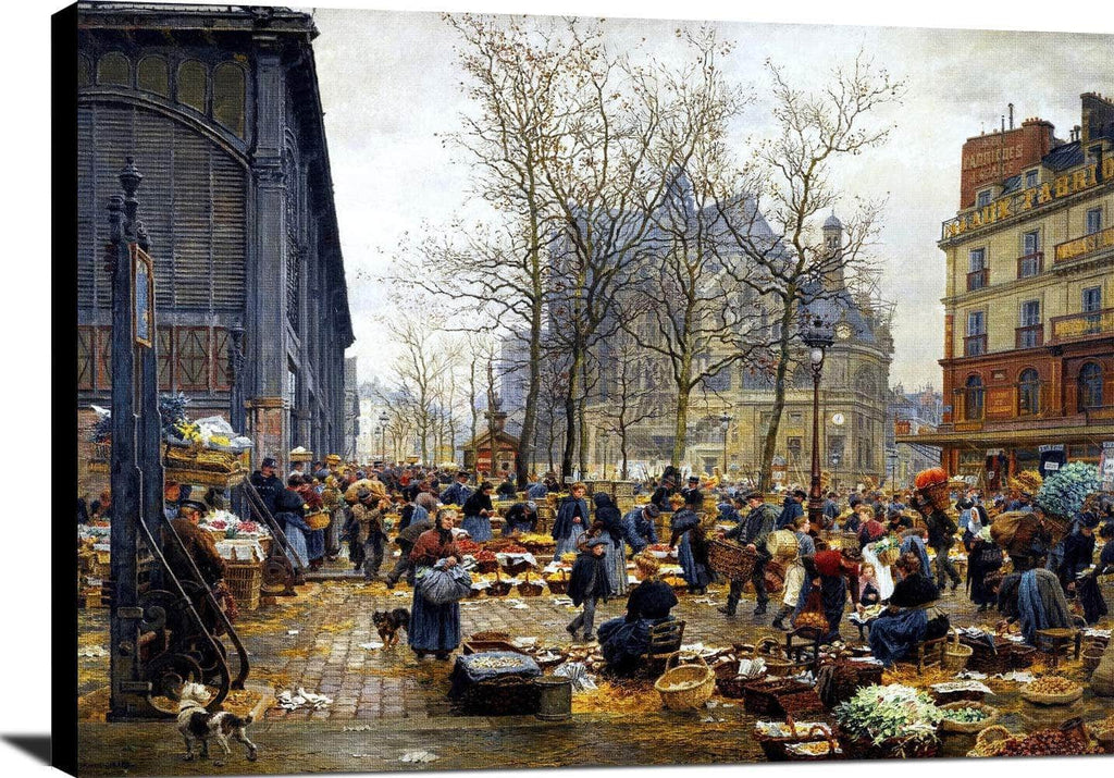 Autumn Market At Les Halles Painting Marie Francois Firmin Girard Canvas Art