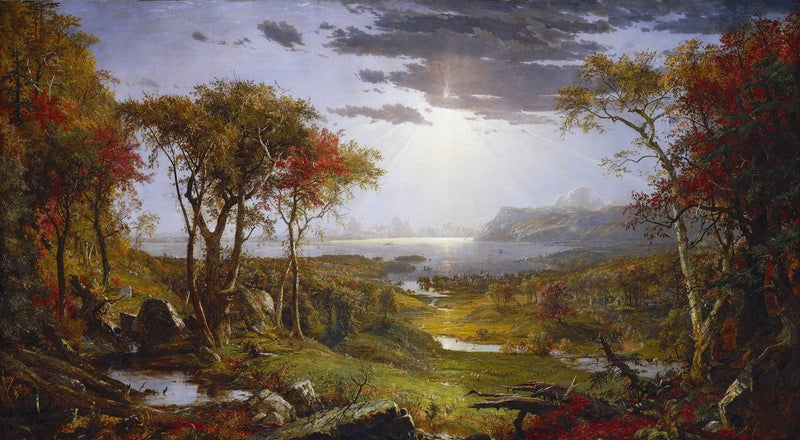Autumn On The Hudson River Painting Jasper Francis Cropsey Canvas Art