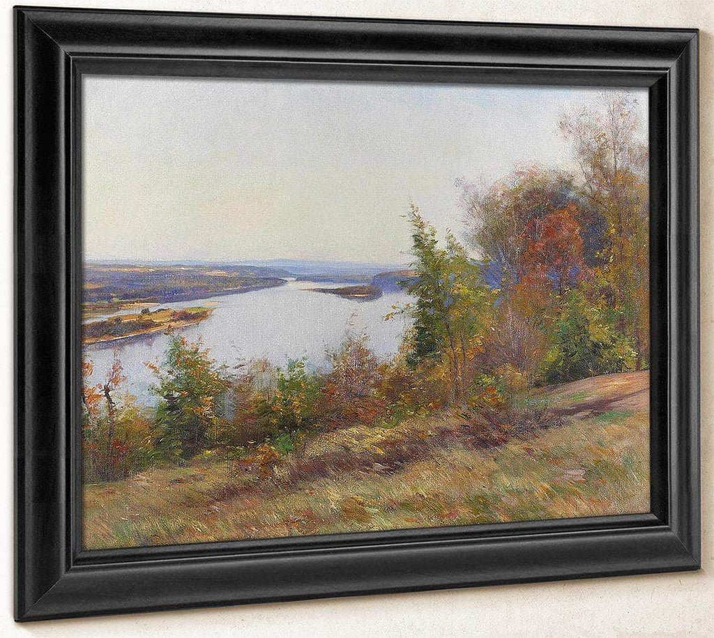 Autumn Trees Overlooking A River By William Wendt