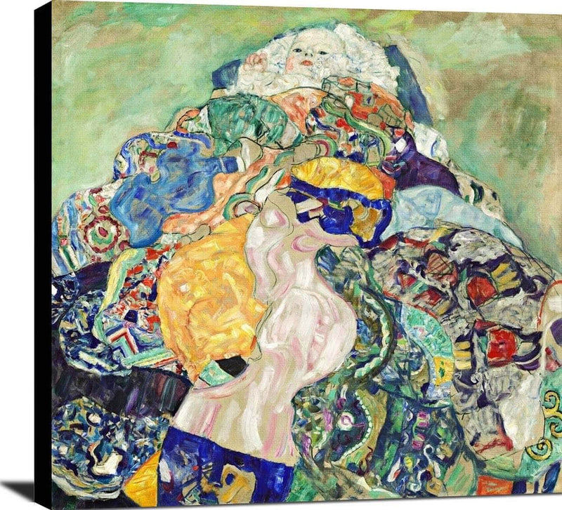Baby Cradle Painting Gustav Klimt Canvas Art