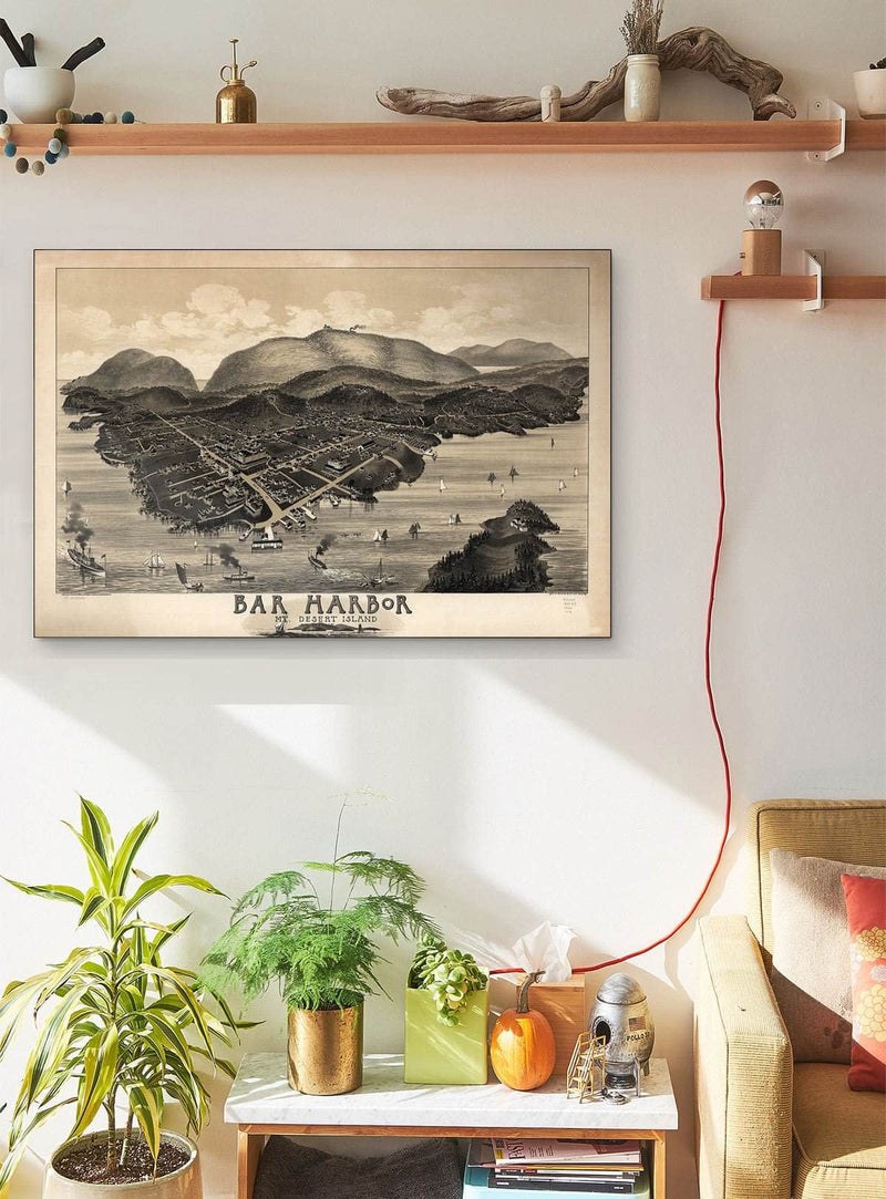Bar Harbor Mt Desert Island Maine Vintage Map