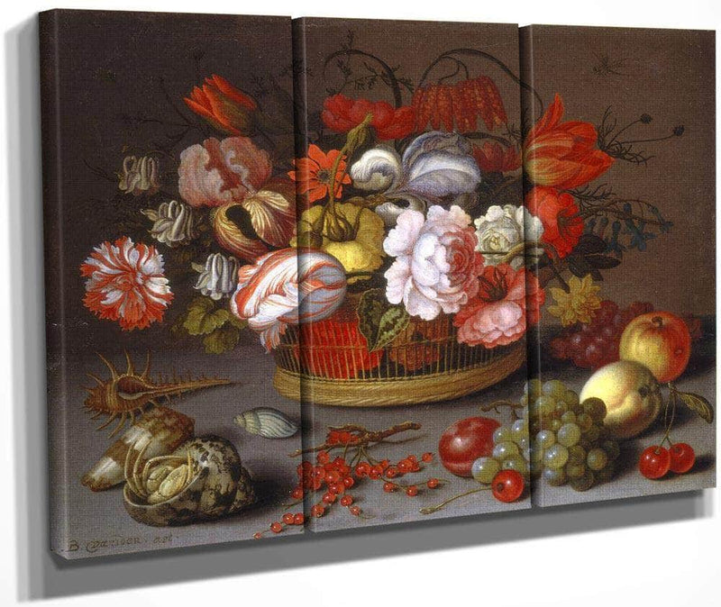 Basket Of Flowers By Balthasar Van Der Ast