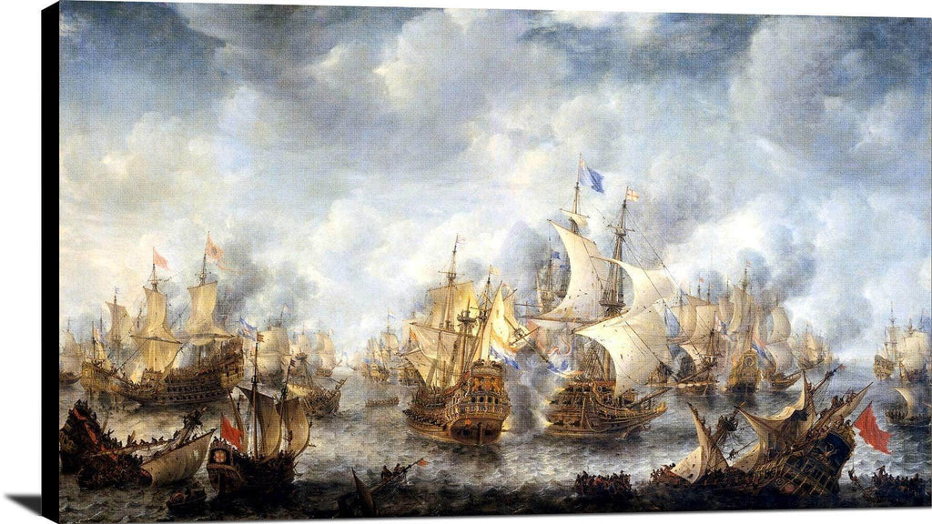 Battle Of Scheveningen Painting Jan Abrahamsz Beerstraaten Canvas Art