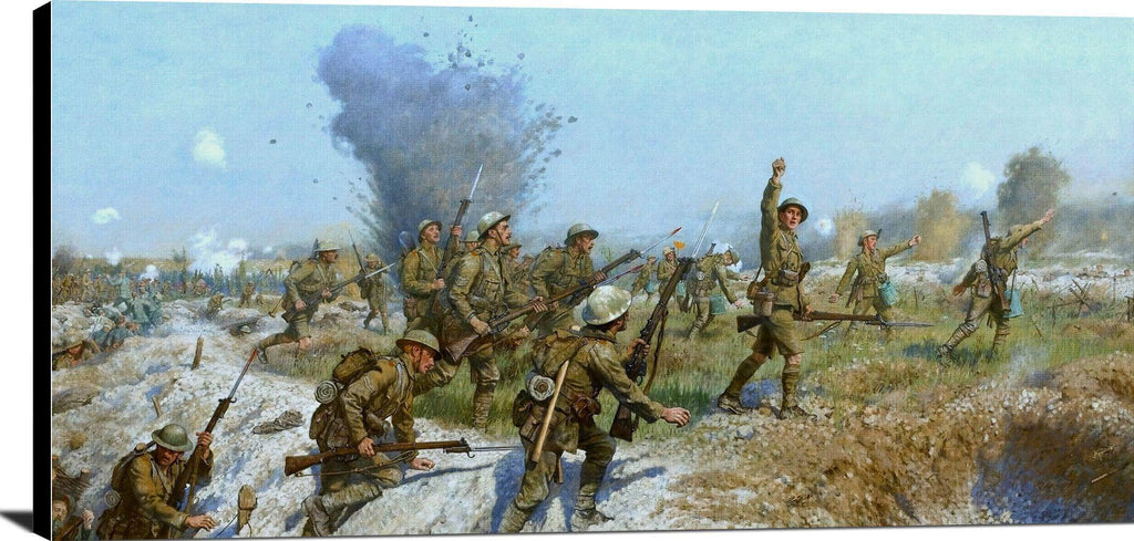 Battle Of The Somme Ulster Division Painting J. P. Beadle Canvas Art