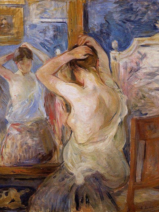 Before The Mirror 1890 Oil On Canvas Private Collection By Berthe Morisot
