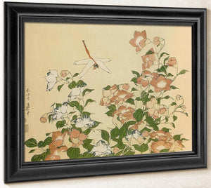 Bell Flower And Dragonfly By Hokusai
