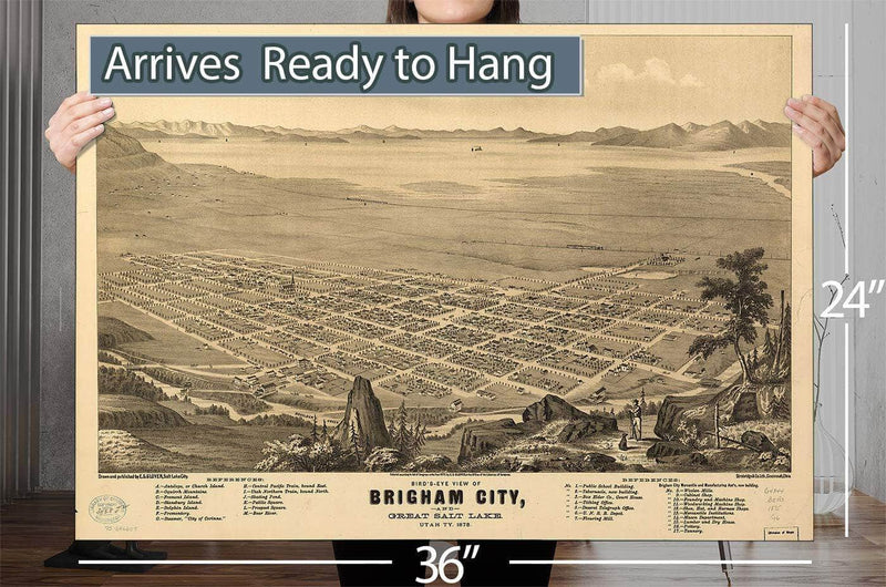 Bird's Eye View Of Brigham City And Great Salt Lake Utah Ty 1875 Vintage Map