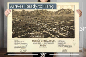 Bird's Eye View Of Buena Vista Colo County Seat Of Chaffee County 1882 Vintage Map