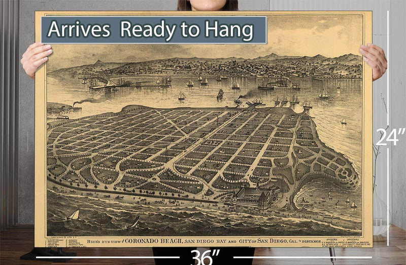 Bird's Eye View Of Coronado Beach San Diego Bay And City Of San Diego Cal In Distance Vintage Map