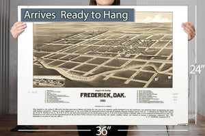 Bird's Eye View Of Frederick Dak 1883 Vintage Map