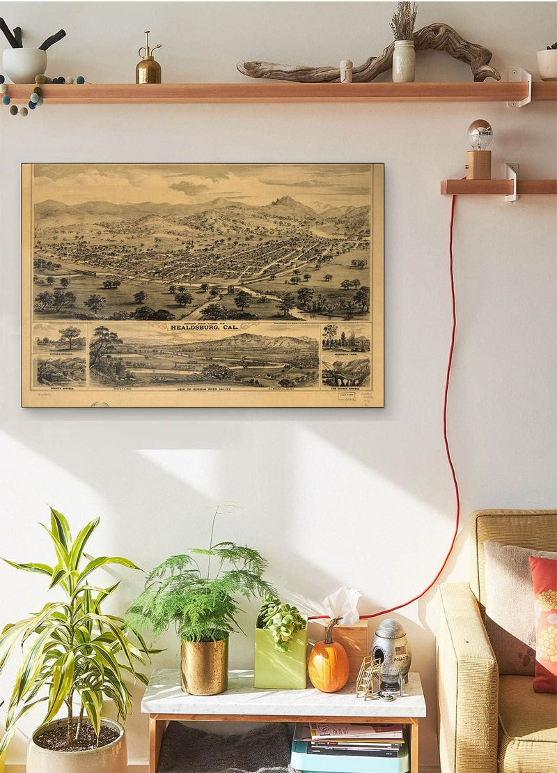 Bird's Eye View Of Healdsburg Cal Vintage Map