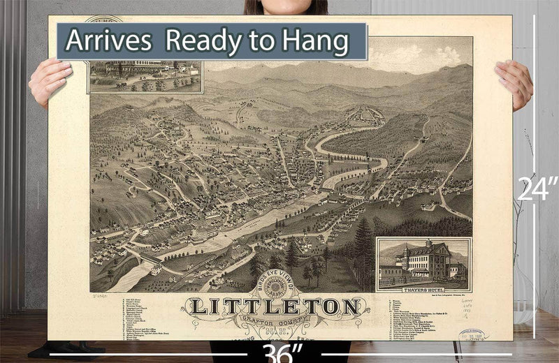 Bird's Eye View Of Littleton Grafton County Nh 1883 Vintage Map