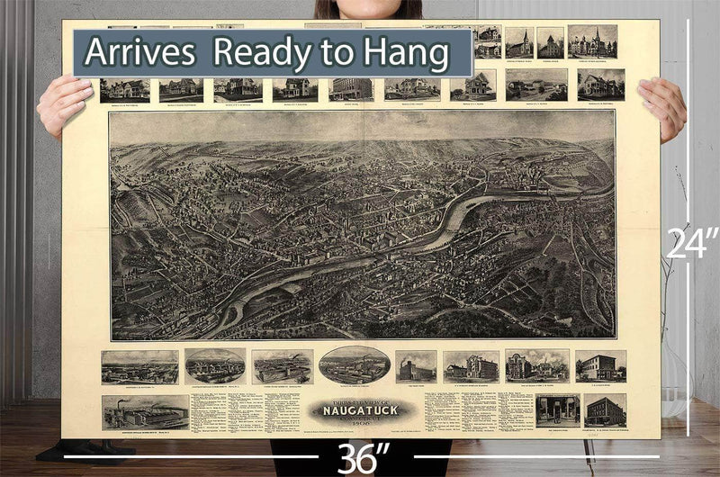 Bird's Eye View Of Naugatuck Connecticut 1906 Vintage Map