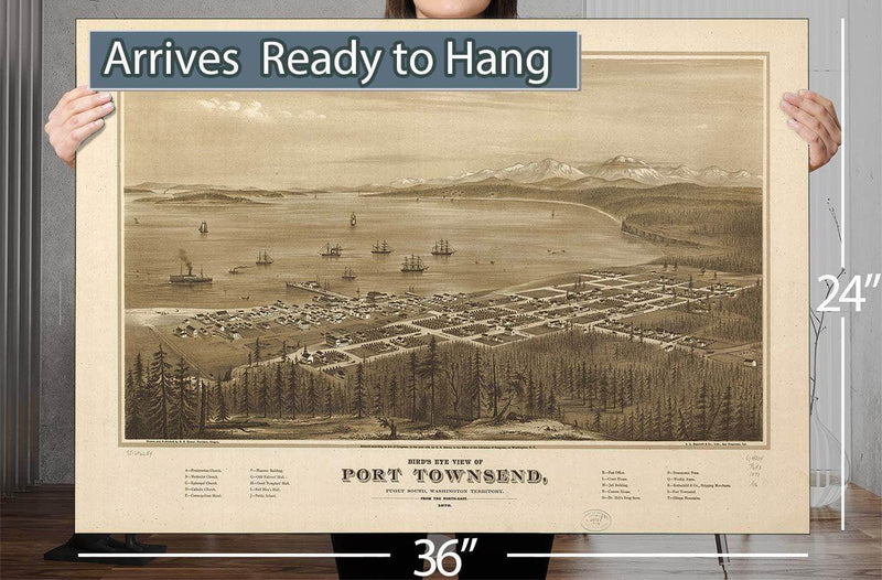 Bird's Eye View Of Port Townsend Puget Sound Washington Territory 1878 Vintage Map