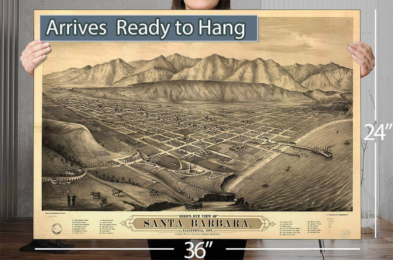 Bird's Eye View Of Santa Barbara California 1877 Looking North To The Santa Barbara Mountains Vintage Map