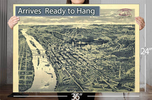 Bird's Eye View Of St Paul Looking West From Dayton's Bluff Vintage Map