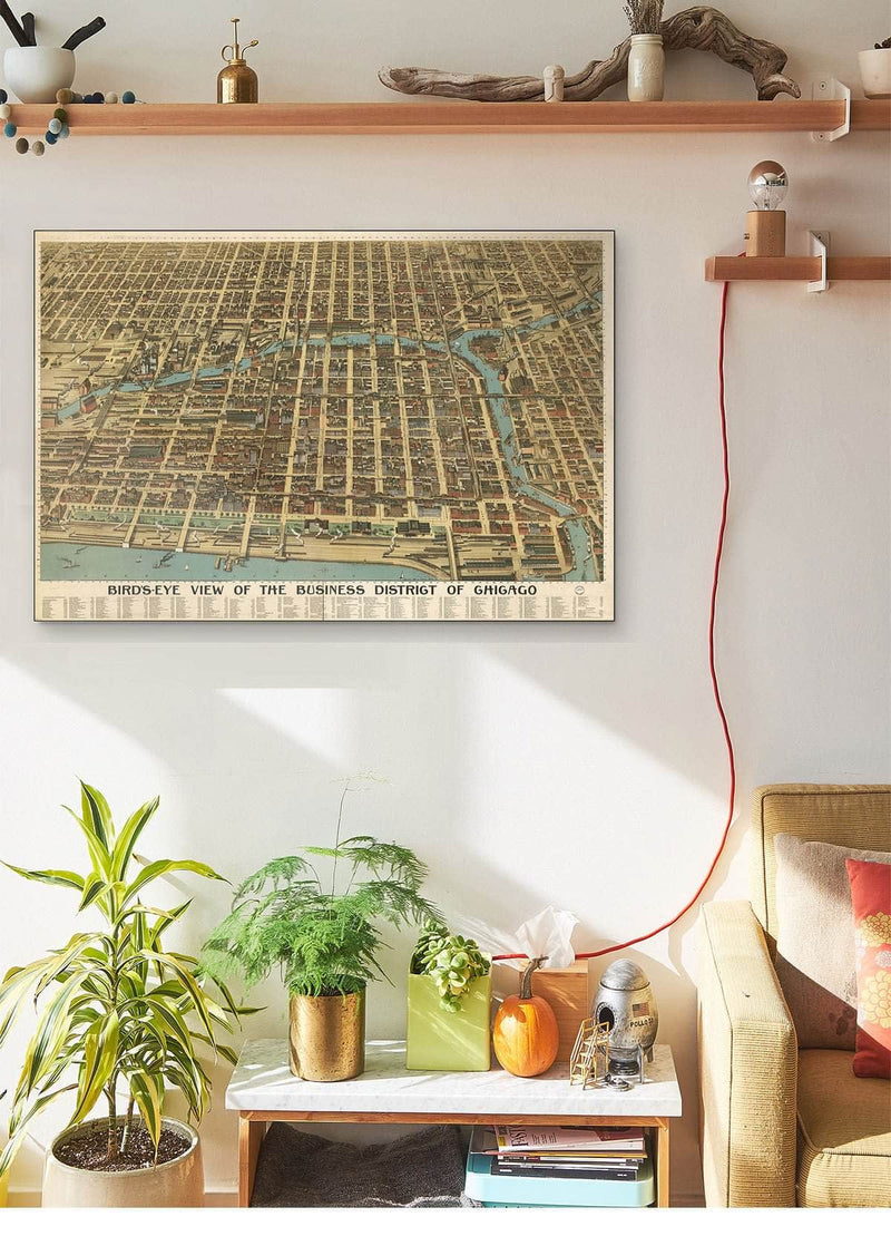 Bird's Eye View Of The Business District Of Chicago Vintage Map