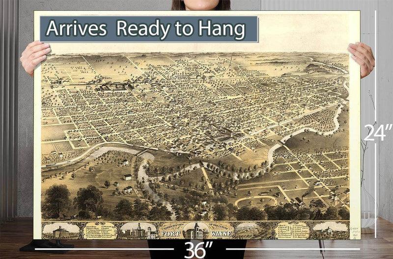 Bird's Eye View Of The City Of Fort Wayne Indiana 1868 Vintage Map