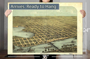 Bird's Eye View Of The City Of Hastings Dakota Co Minnesota 1867 Vintage Map
