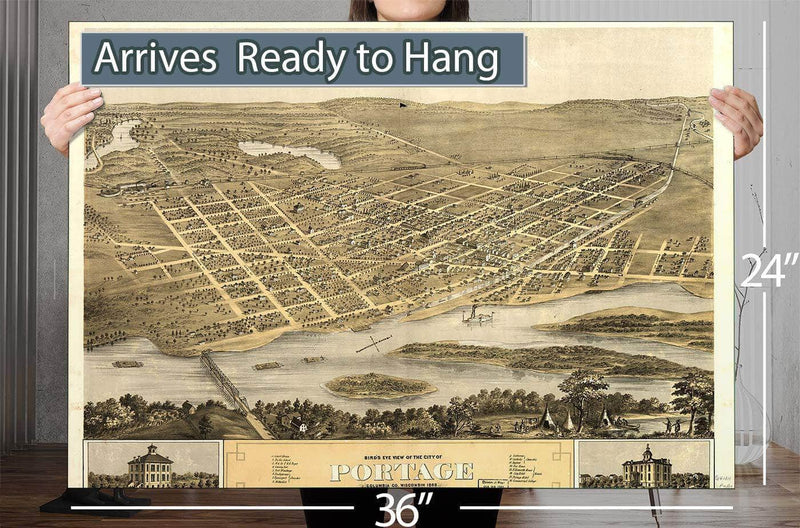 Bird's Eye View Of The City Of Portage Columbia Co Wisconsin 1868 Vintage Map