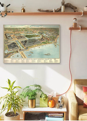 Bird's Eye View Of The World's Columbian Exposition Chicago 1893 Vintage Map