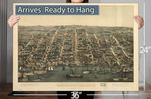 Birds Eye View Of Alexandria Va Vintage Map