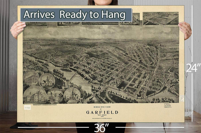 Birds Eye View Of Garfield New Jersey 1909 Vintage Map