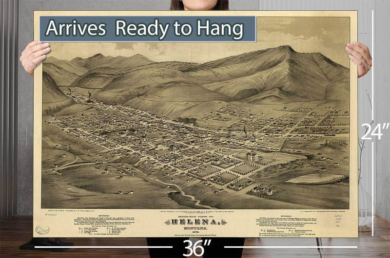 Birds Eye View Of Helena Montana 1875 Vintage Map