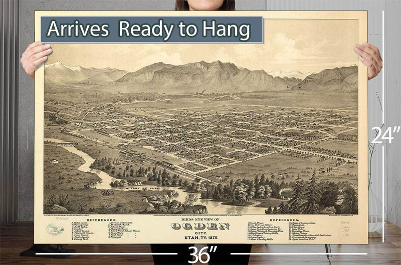 Birds Eye View Of Ogden City Utah Ty 1875 Vintage Map