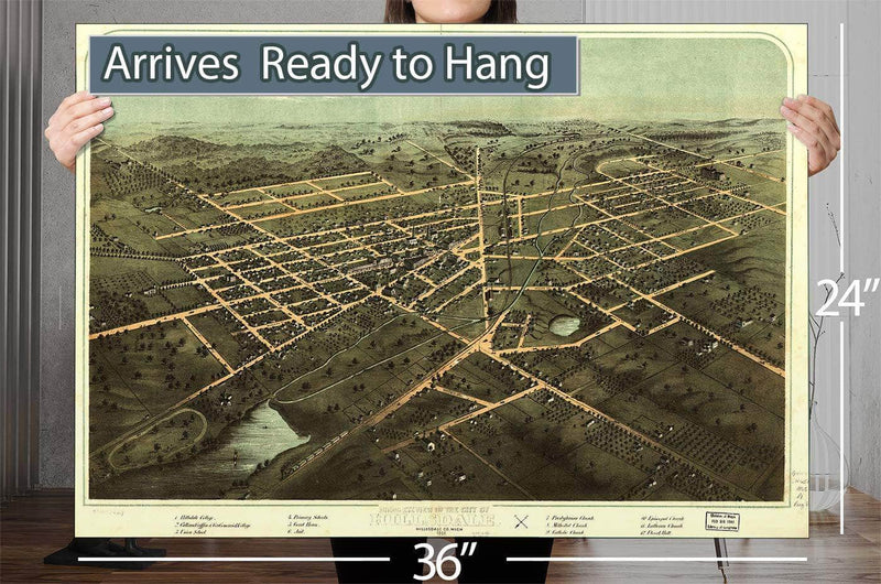 Birds Eye View Of The City Of Hillsdale Hillsdale Co Mich 1866 Vintage Map