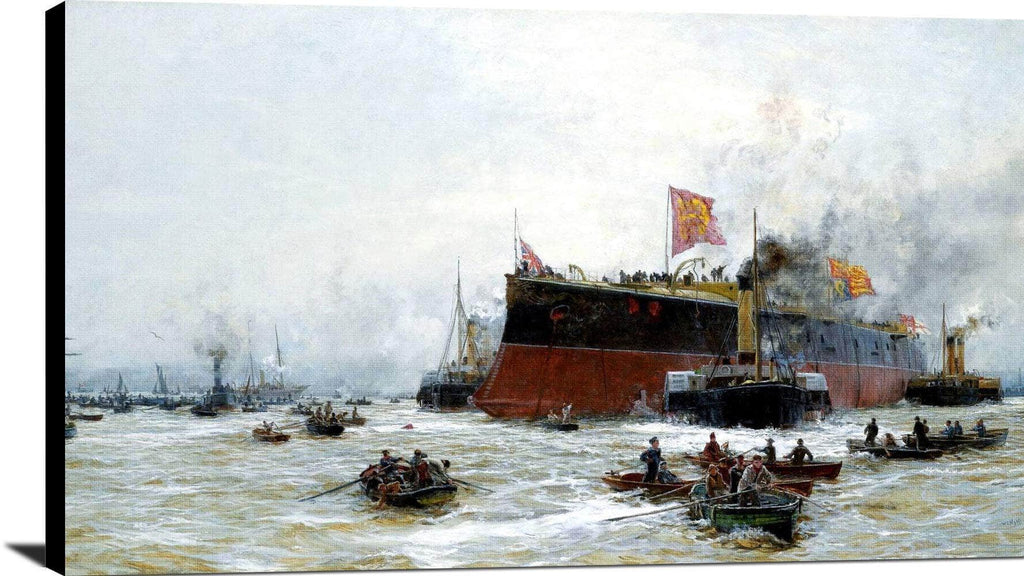 Birth Of A Titan Hms Blake Painting William Lionel Wyllie Canvas Art