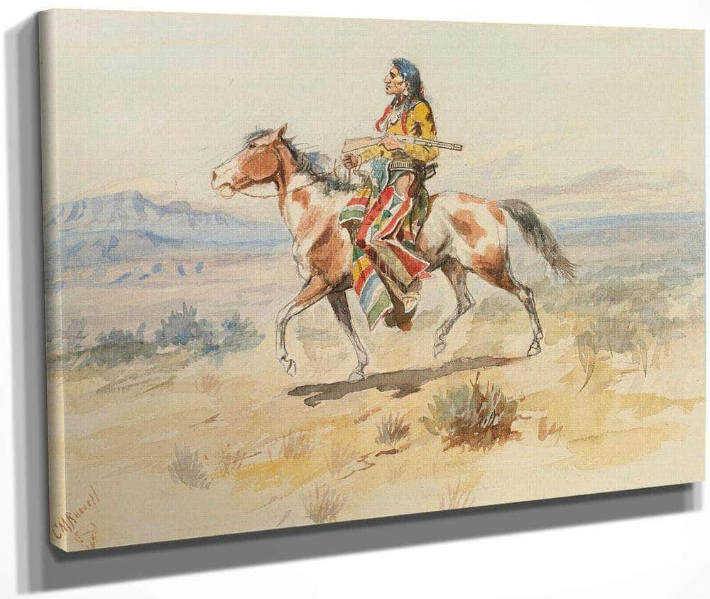 Blackfoot Indian A Crow Scout By Charles Marion Russell