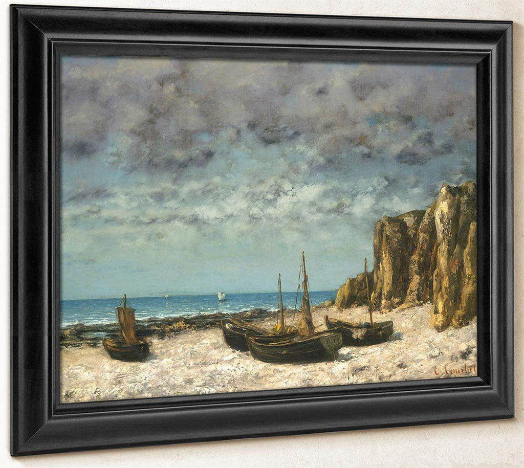 Boats On A Beach Etretat By Gusave Courbet
