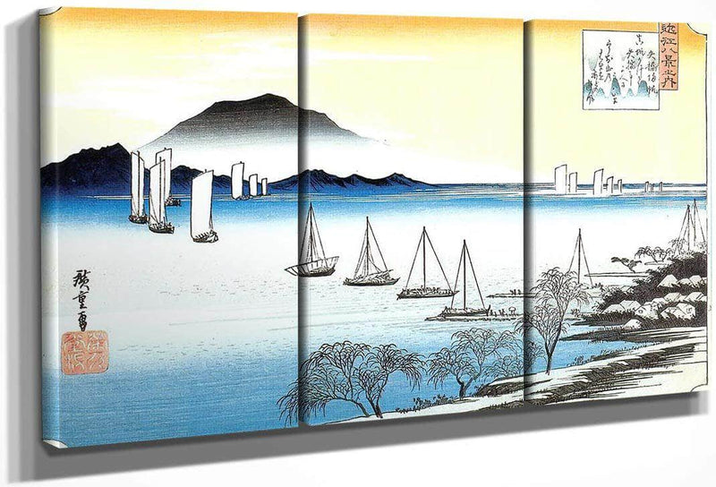 Boats On A Lake By Hiroshige