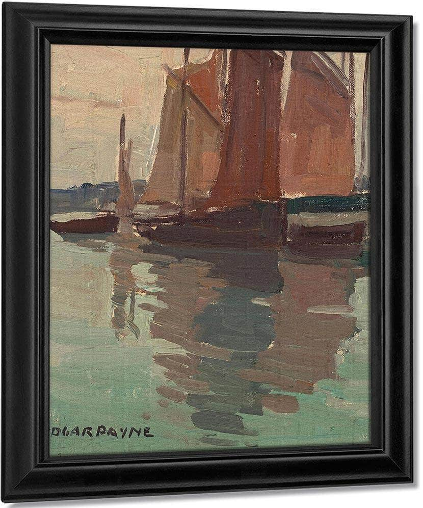 Boats With Red Sails By Edgar Payne