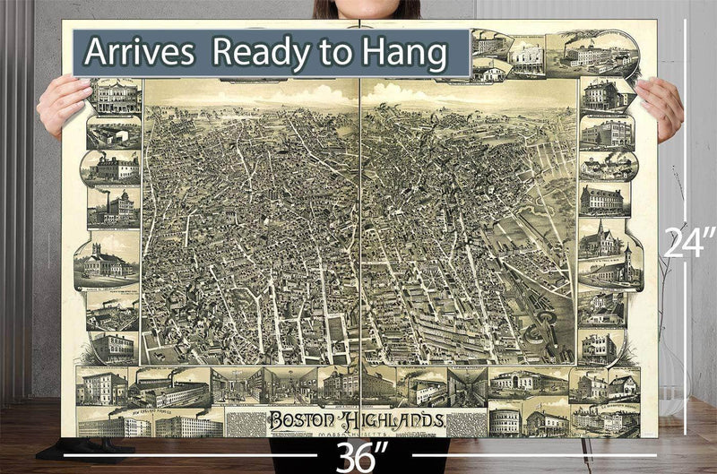 Boston Highlands Massachusetts Wards 19 20 21 & 22 Of Boston Vintage Map