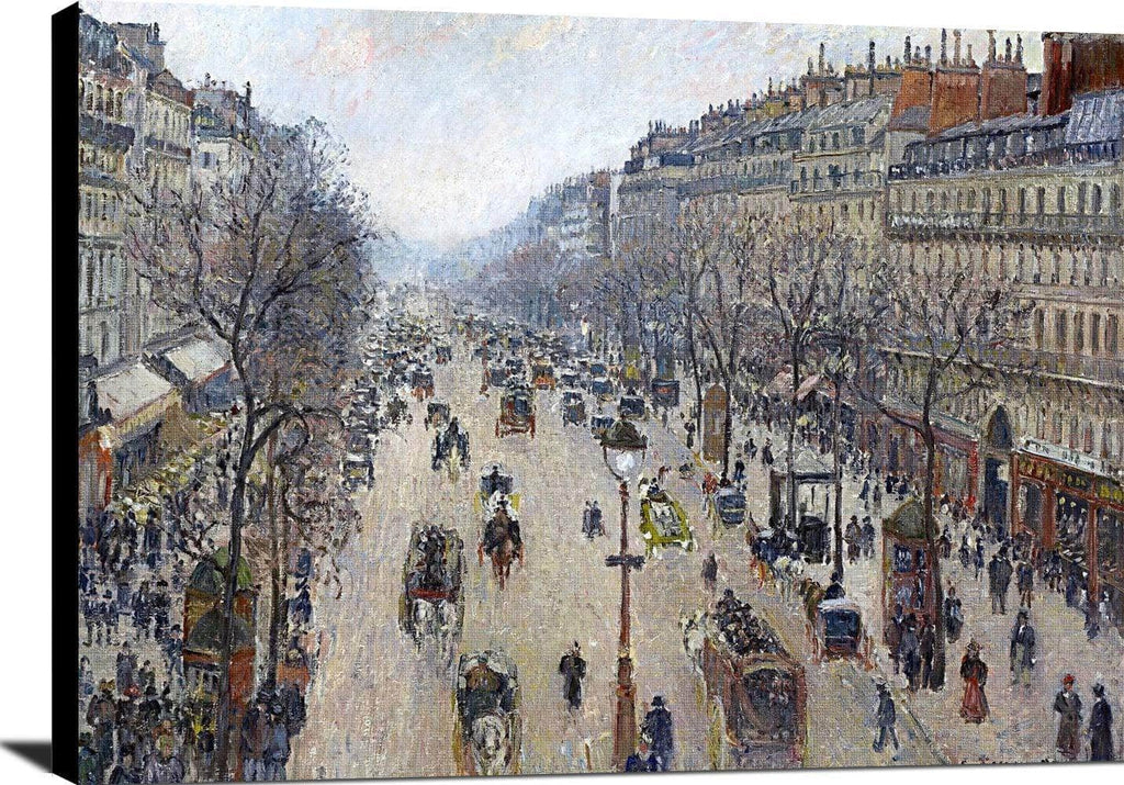 Boulevard Montmartre, Morning, Cloudy Weather Painting Pissarro Canvas Art