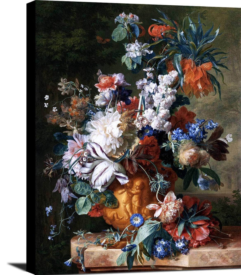 Bouquet Of Flowers In An Urn Painting Jan Van Huysum Canvas Art