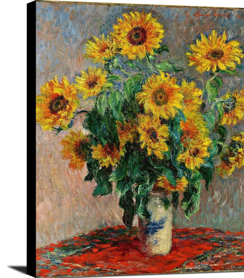 Bouquet Of Sunflowers Painting Claude Monet Canvas Art