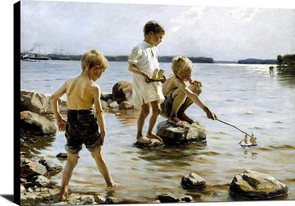 Boys Playing Painting Albert Edelfelt Canvas Art
