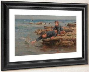 Boys Playing With Their Boat On A Rocky Shore By William By Marshall By Brown